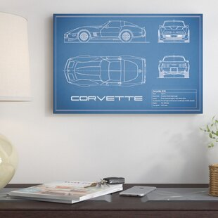 'Chevrolet Corvette C3 Body Type' Graphic Art Print on Canvas in Blue By East Urban Home