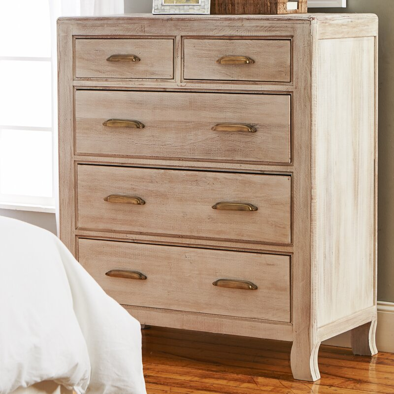 Melia 5 Drawer Solid Wood Chest