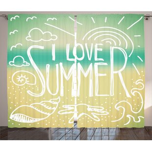 I Love Summer Graphic Print and Text Room Darkening Rod Pocket Curtain Panels (Set of 2) by East Urban Home