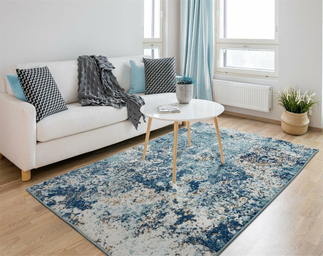 Image of: Williston Forge Brittni Abstract Blue Beige Area Rug Reviews Wayfair