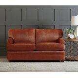 Genuine Leather 61 Recessed Arm Loveseat by Wayfair Custom Upholstery™
