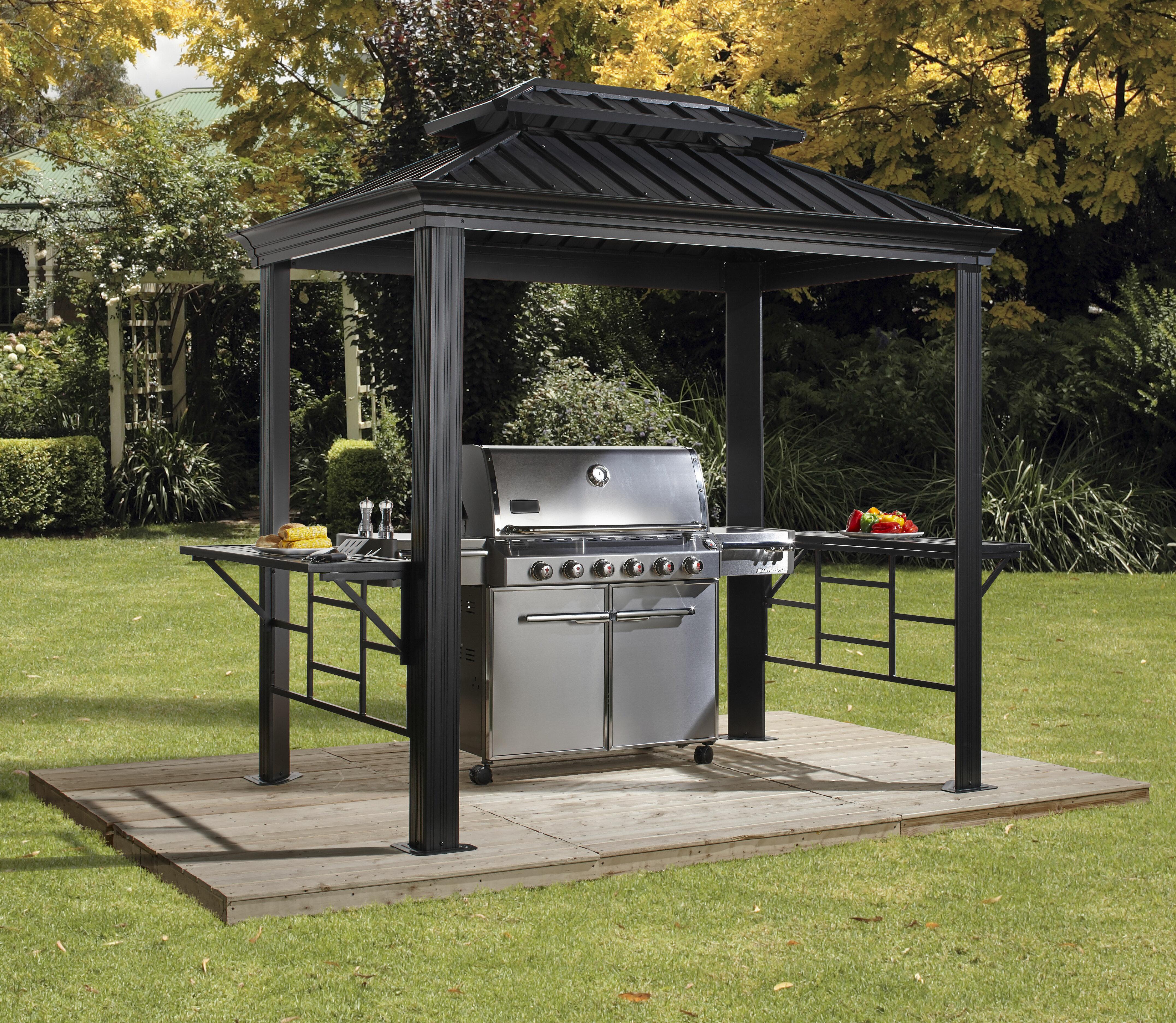 Sojag BBQ Messina 8 Ft. W x 6 Ft. D Aluminum Grill Gazebo u0026 Reviews | Wayfair & Sojag BBQ Messina 8 Ft. W x 6 Ft. D Aluminum Grill Gazebo ...