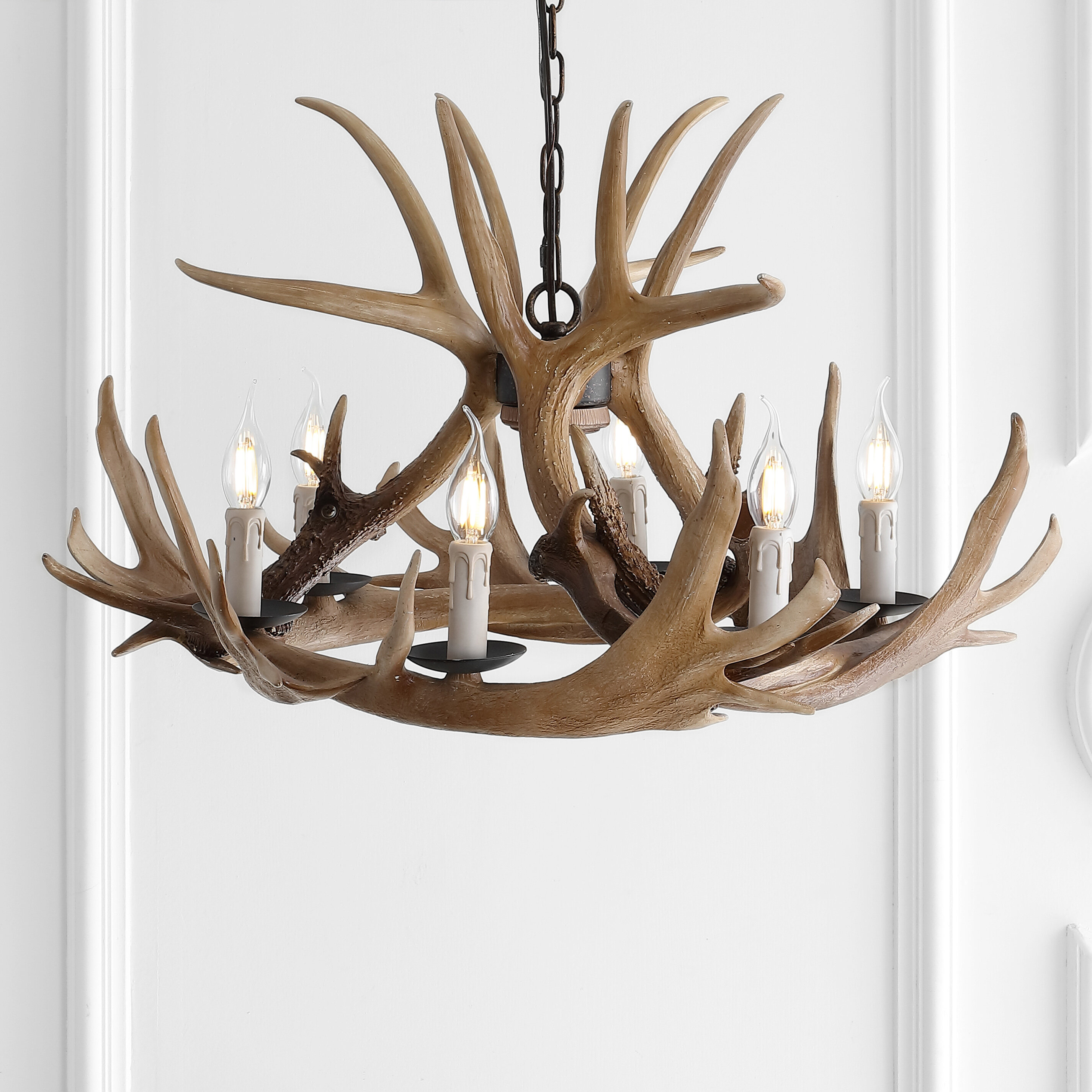 Millwood Pines Rohrbach 6 Light Candle Style Classic Traditional Chandelier With Antler Accents Reviews Wayfair