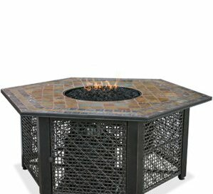 LP Gas Outdoor Fire Pit with Slate Tile Mantel