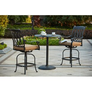 Melchior 3 Piece Counter Height Bar Dining Set with Cushions