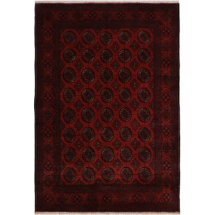 Online Reviews One-of-a-Kind Cremeans Hand-Knotted 4'11 x 6'5 Wool Red/Black Area Rug By Isabelline