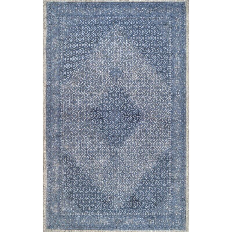 Perlman Hand-Woven Wool Blue Area Rug