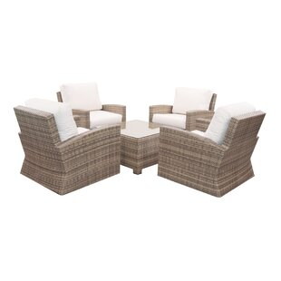 Norfolk 5 Piece Sunbrella Deep Seating Group with Cushions by Rosecliff Heights