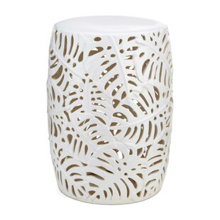 Lachlan Palm Leaf Cutwork Pattern Ceramic Garden Stool by Bay Isle Home