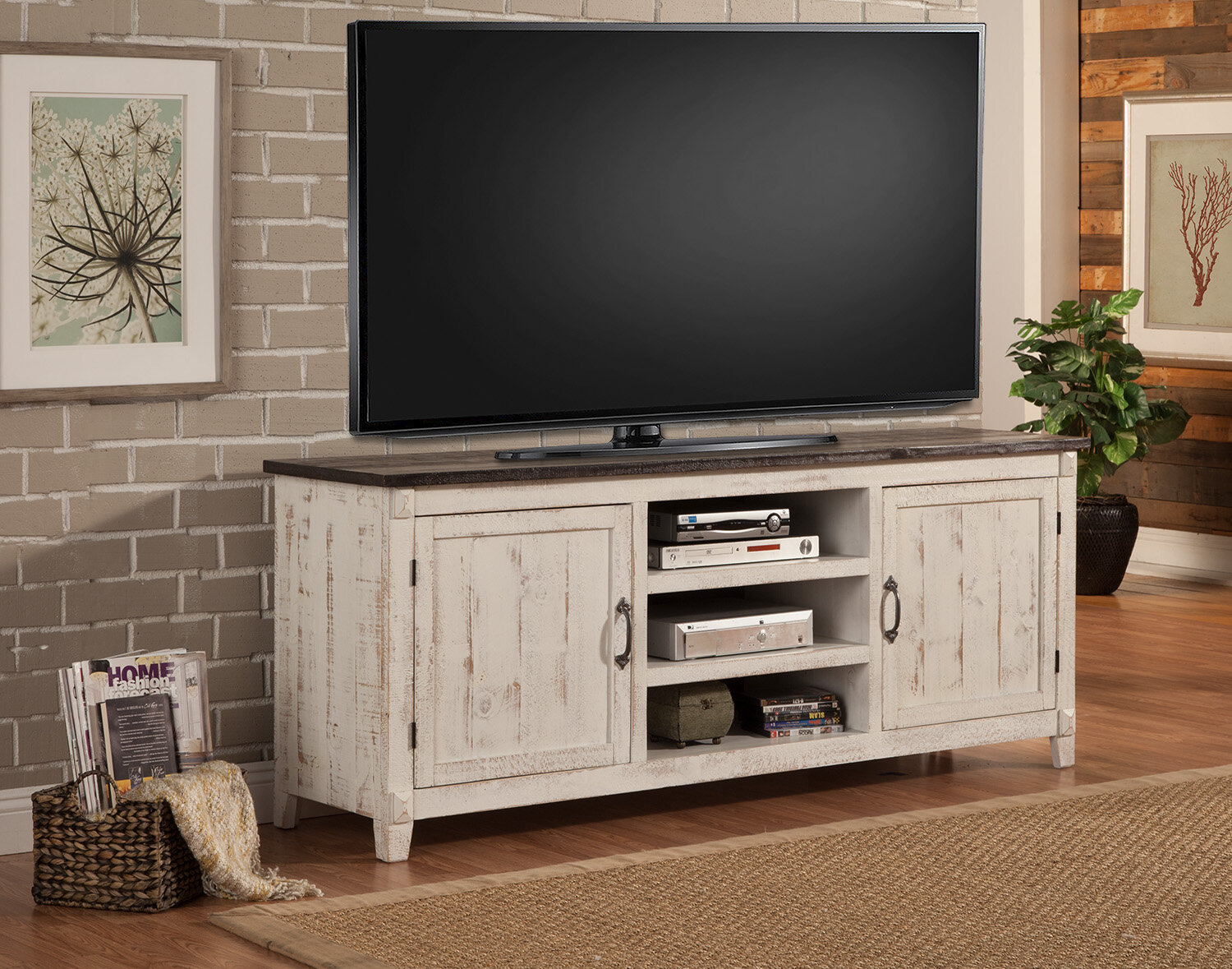 Highland Dunes Cedarburg Solid Wood Tv Stand For Tvs Up To 85 Reviews Wayfair