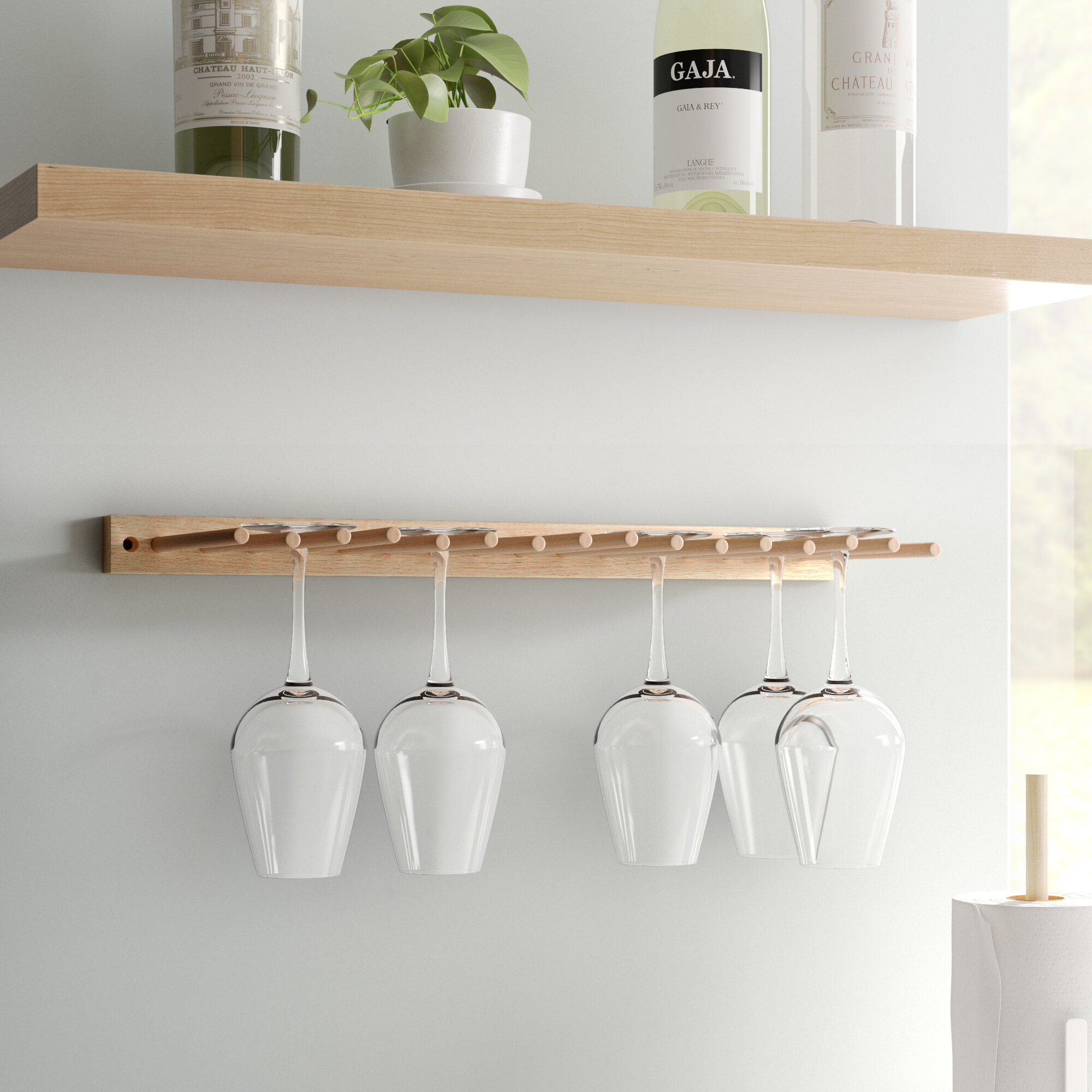Dotted Line Emilia Solid Wood Wall Mounted Wine Glass Rack In Natural Reviews