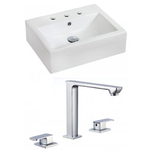 Ceramic 21 Wall Mount Bathroom Sink with Faucet and Overflow ByRoyal Purple Bath Kitchen
