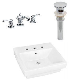Inexpensive Ceramic Rectangular Bathroom Sink with Faucet and Overflow By American Imaginations