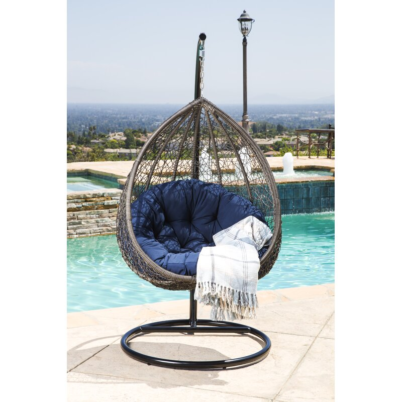 Bon Ostrowski Outdoor Wicker Swing Chair With Stand