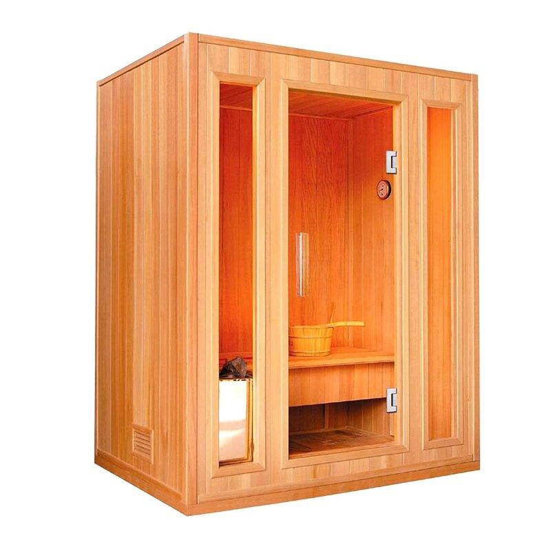 ALEKO Canadian Cedar Wood 3 Person Steam Sauna   Wayfair