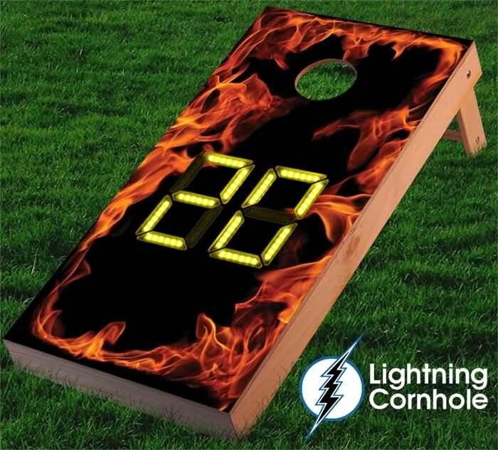 Electronic Scoring Flaming Cornhole Board