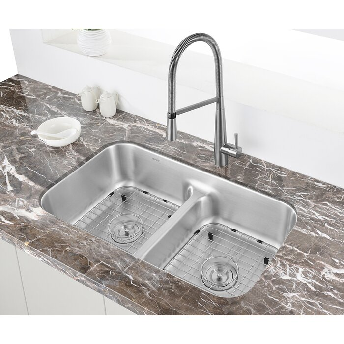 Parmi 32 L X 19 W Double Basin Undermount Kitchen Sink