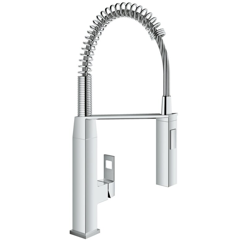 Grohe Eurocube Pull Out Single Handle Kitchen Faucet With Silkmove Reviews Wayfair