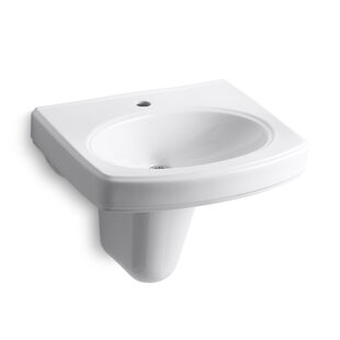 Reviews Pinoir Vitreous China 22 Semi Pedestal Bathroom Sink with Overflow By Kohler