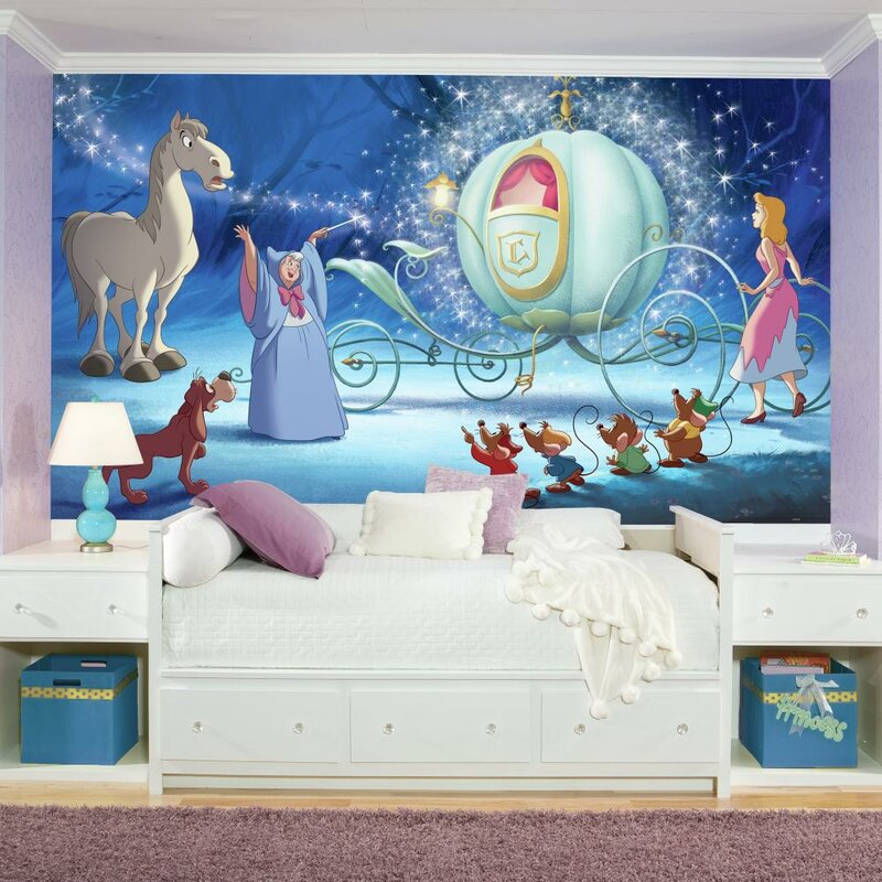 Disney Princess Cinderella Carriage Chair Rail Prepasted Wall Mural Part 73