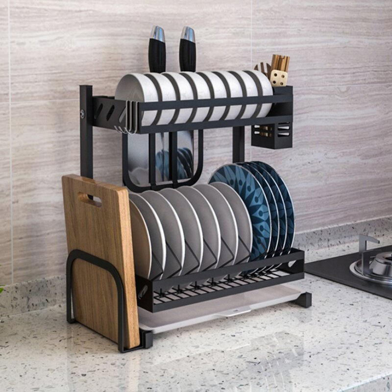 Emodern Decor Stainless Steel 2 Tier Dish Rack Reviews Wayfair