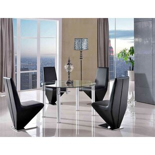 Berri Steel Clear Glass Dining Set With 4 Chairs By Metro Lane