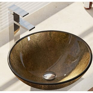 Find the perfect Regal and Earth Tones Glass Circular Vessel Bathroom Sink with Faucet By René By Elkay