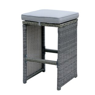 Nathan Aluminum Wicker Frame Patio Bar Stool with Cushion (Set of 6)