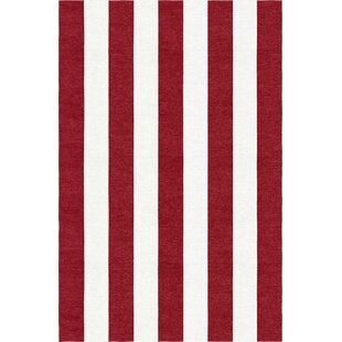Inexpensive Watchman Stripe Hand-Woven Wool Wine Red/White Area Rug ByBreakwater Bay