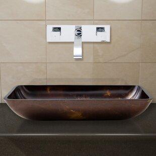Fusion Glass Rectangular Vessel Bathroom Sink with Faucet VIGO