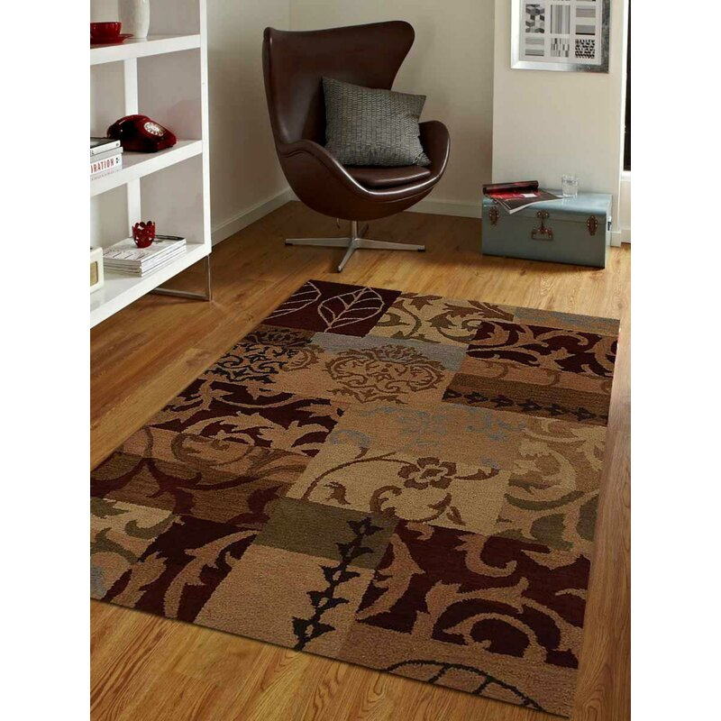 Fleur De Lis Living Wirt Patchwork Handmade Tufted Brown Area Rug Wayfair