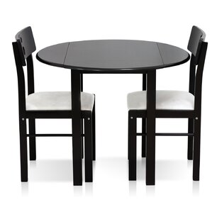 Cos-Drop Leaf Solid Wood 3 Piece Dining Set by Furinno