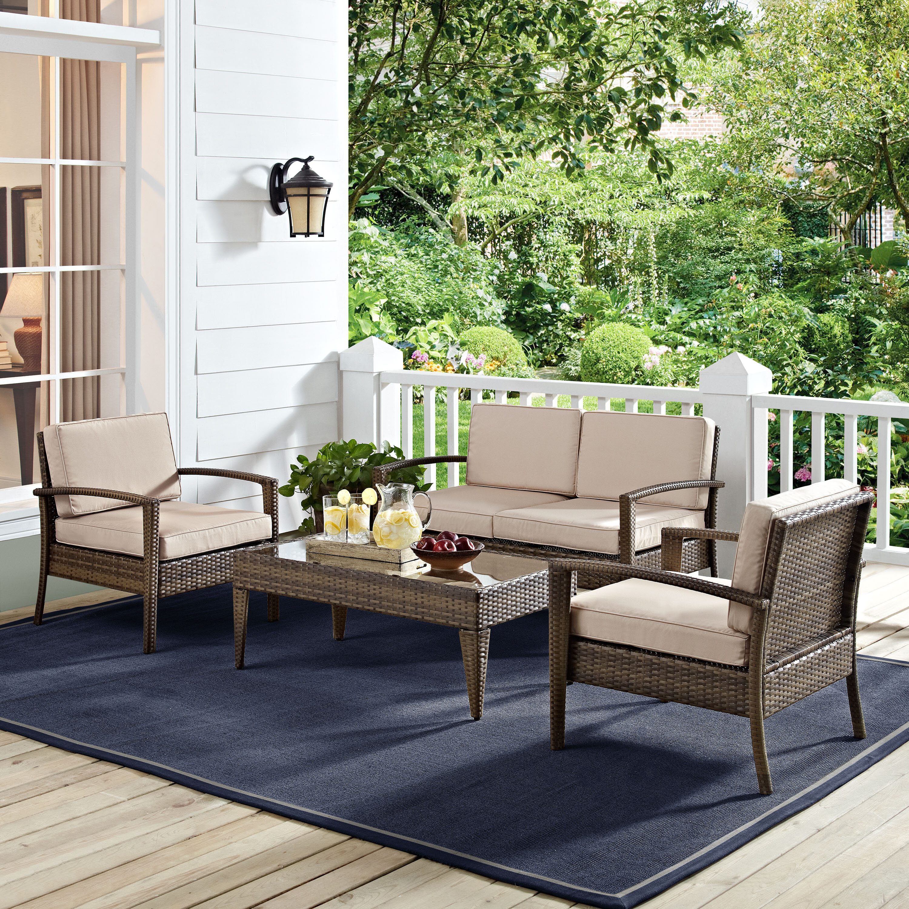 Glaser 4 Piece Outdoor Sofa Seating Group with Cushions