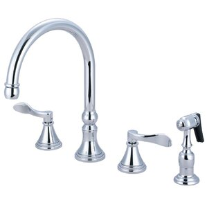 Kingston Brass NuFrench Double Handle Deck Mount Kitchen Faucet with Brass Spray