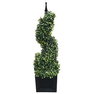 Artificial Spiral Tower Boxwood Topiary In Planter By The Seasonal Aisle