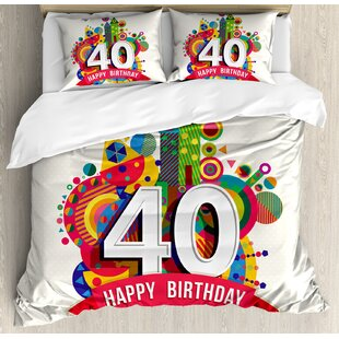 40th Birthday Decorations Cute Display with Cartoon Style Figures Dots and Banner Duvet Set by Ambesonne