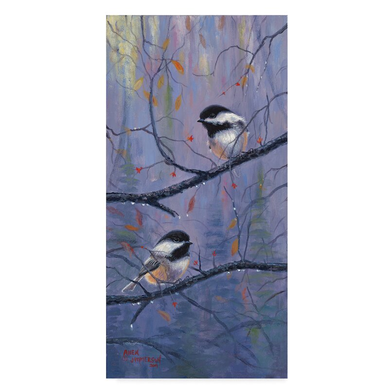 Trademark Art Chickadees Small Oil Painting Print On Wrapped Canvas Wayfair