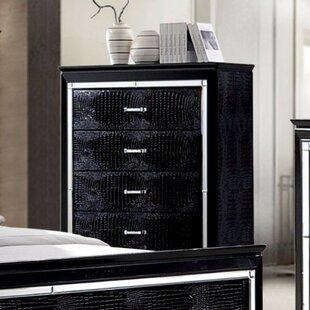 Everly Quinn Galle Crocodile Textured 5 Drawer Standard Dresser