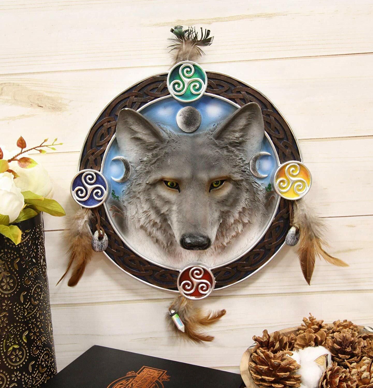 Bloomsbury Market Triple Goddess Triskele Trinity Celtic Alpha Wolf Round Dreamcatcher Wall Décor Wayfair