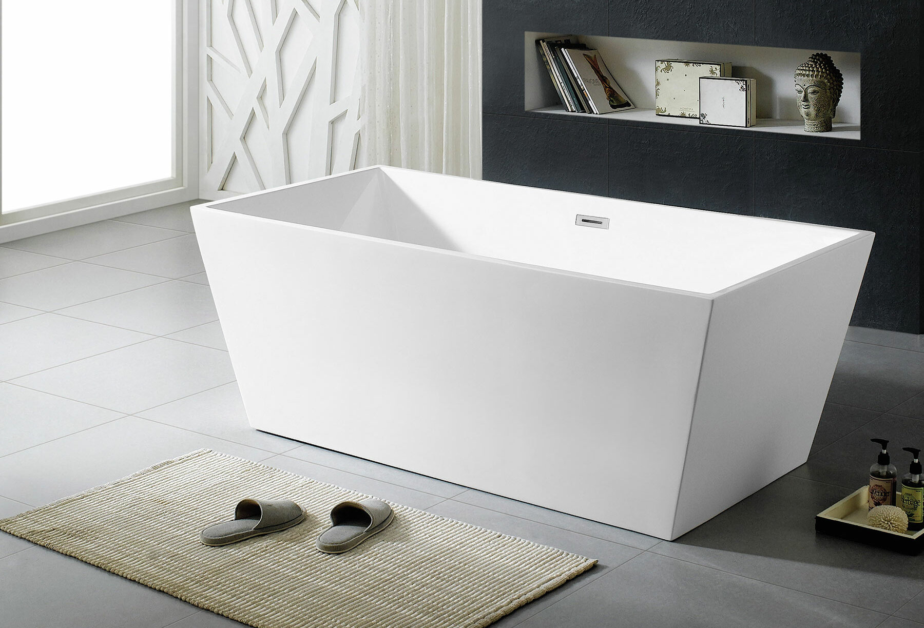 Maykke Sierra 59 X 31 Freestanding Soaking Bathtub Wayfair