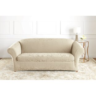 Sure Fit Stretch Jacquard Damask Box Cushion Sofa Slipcover