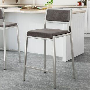 Duggan Microfiber 26 Bar Stool (Set of 2) Orren Ellis
