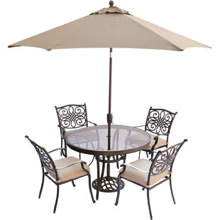 Carleton 5 Piece Aluminum Dining Set with Cushions