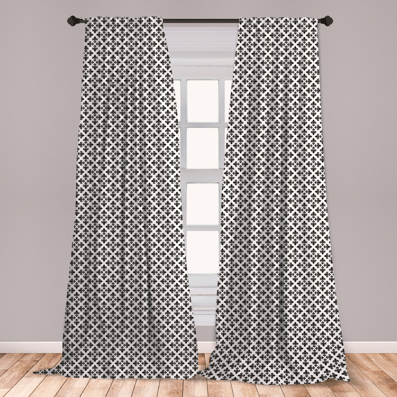 Ambesonne Fleur De Lis Curtains Monochrome Abstract Curvy Ornament Graphic Traditional Swirls Curls Window Treatments 2 Panel Set For Living Room