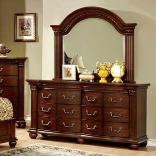 Find Pugh 12 Drawer Double Dresser with Mirror by Astoria Grand