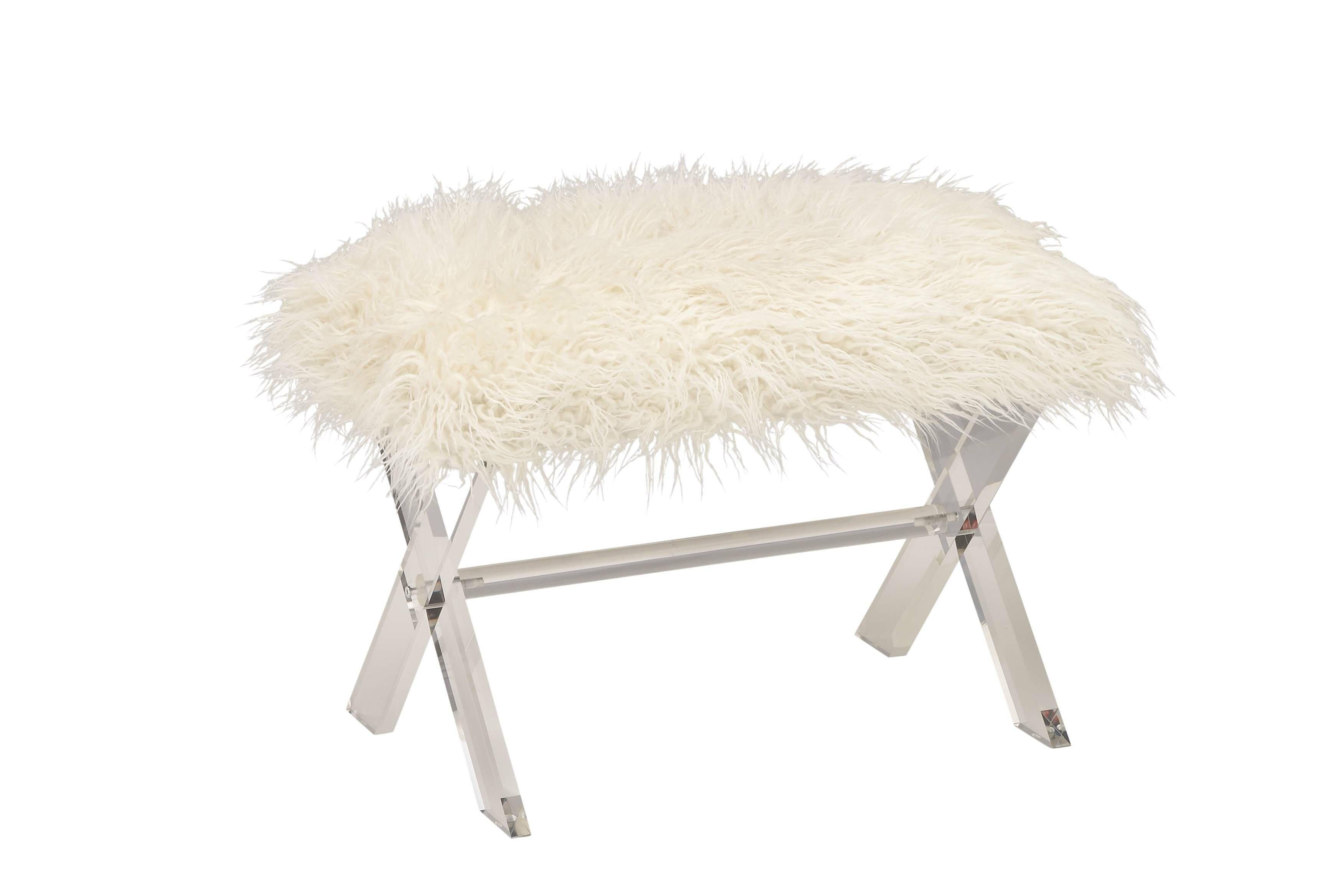 Image of: Mercer41 Peniste Acrylic Faux Fur Vanity Stool Reviews Wayfair Ca