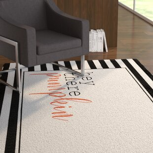 Compare prices Siri Hey There Pumpkin Stripes Black/White Area Rug ByThe Holiday Aisle