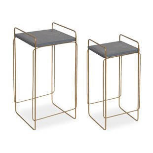 Diego Metal and Wood 2 Piece Nesting Tables