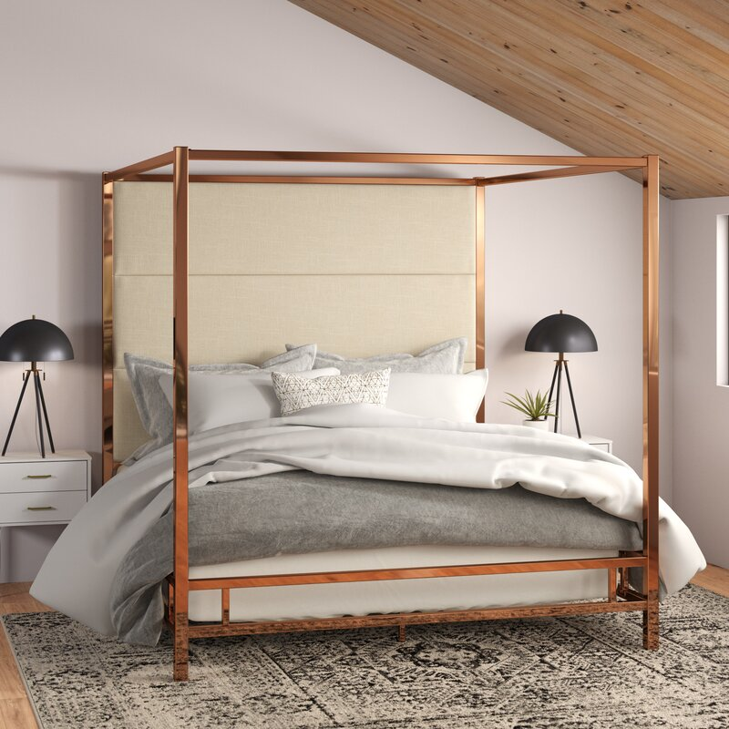 Canopy Bed.Everson Upholstered Canopy Bed Reviews Allmodern