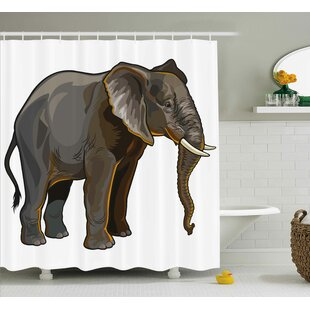 Guennoun Animal African Elephant Side View Exotic Spiritual Safari Creature Digital Illustration Single Shower Curtain